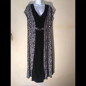 Sexy Animal Print Slim A-line Illusion dress. XL